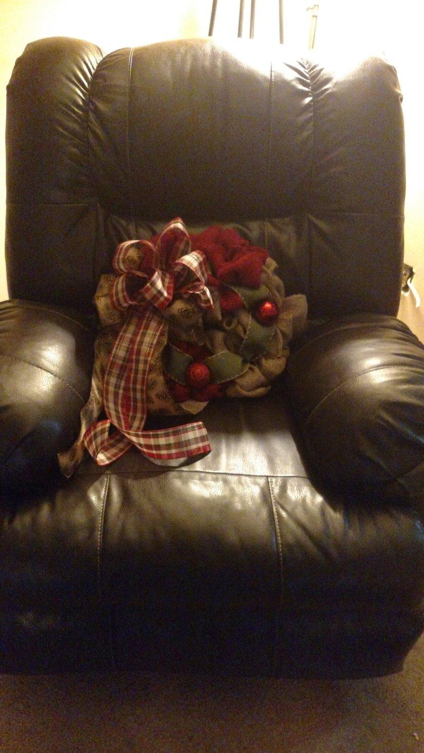 christmas wreath in chair